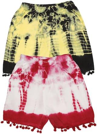 KiddoPanti Hot Pants Rayon Above Knee Casual Tie & Dye Multi