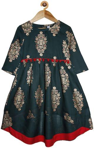 KiddoPanti Girl's Cotton Printed 3/4th sleeves Kurta & kurti - Green