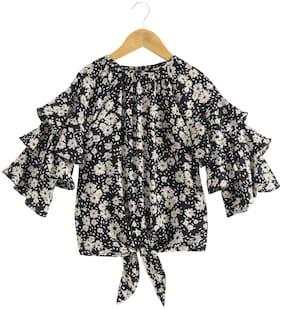KiddoPanti Girl Polyester Floral Top - Black