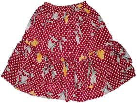 KiddoPanti Girl Polyester Floral A- line skirt - Red