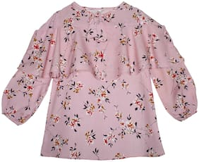 KiddoPanti Girl Rayon Floral Top - Pink