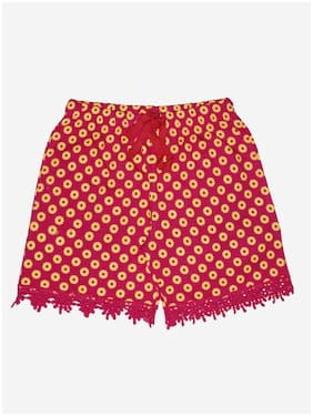 KiddoPanti Girl Cotton Printed Regular shorts - Red