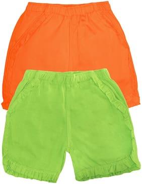 Orange;Green Regular Shorts Shorts