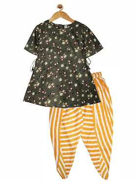 KiddoPanti Rayon Green;Yellow Floral Kurta & Dhoti  For Girl