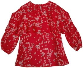 KiddoPanti Girl Rayon Floral Top - Red