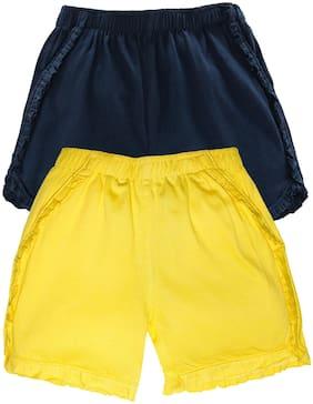 Blue;Yellow Regular Shorts Shorts