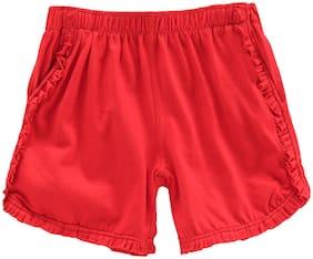 KiddoPanti Girl Cotton Solid Regular shorts - Red