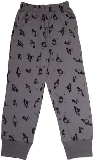 KiddoPanti Space ship AOP printed Pyjama;Grey;2-3Y