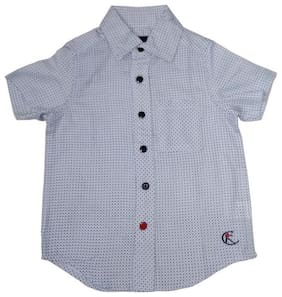 KiddoPanti Boy Cotton Printed Shirt Blue
