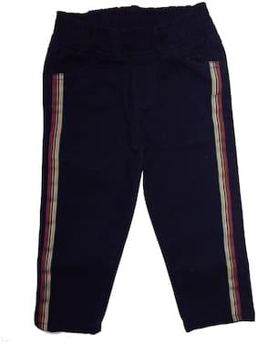 KiddoPanti Girl Cotton Solid Capri - Blue