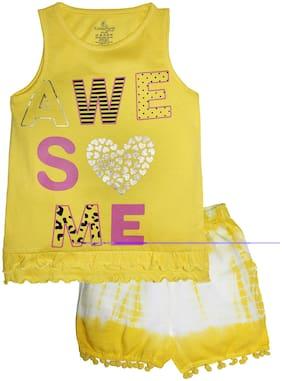 KiddoPanti Girl Cotton Top & Bottom Set - Yellow