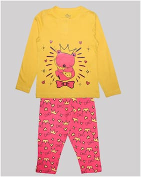 KiddoPanti Girl's Cotton Printed Top & pyjama set - Yellow & Pink