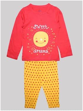 KiddoPanti Girl's Cotton Printed Top & pyjama set - Red & Yellow