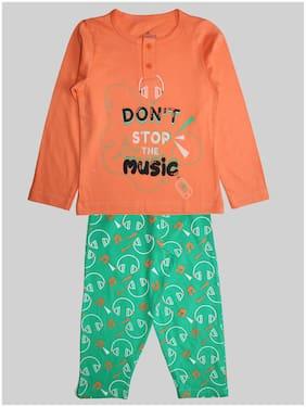 KiddoPanti Girl's Cotton Printed Top & pyjama set - Orange & Green