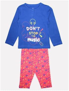KiddoPanti Girl's Cotton Printed Top & pyjama set - Blue & Pink