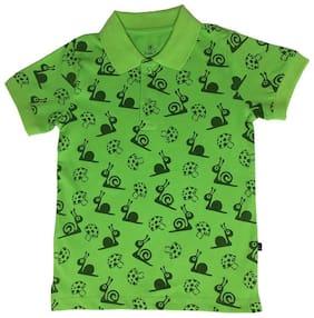 KiddoPanti Boy Cotton Printed T-shirt - Green