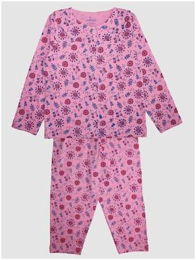 KiddoPanti Girl's Cotton Printed Top & pyjama set - Pink