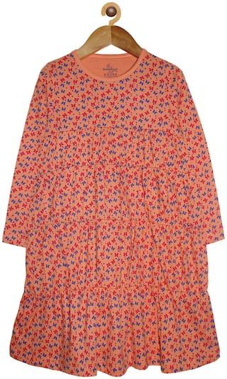 KiddoPanti Winter Frock A-Line Dress Orange