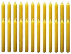 KIDLAND Yellow Wax Standing Candle (Pack Of 25) Decoration Candle  (Yellow, Pack of 25)