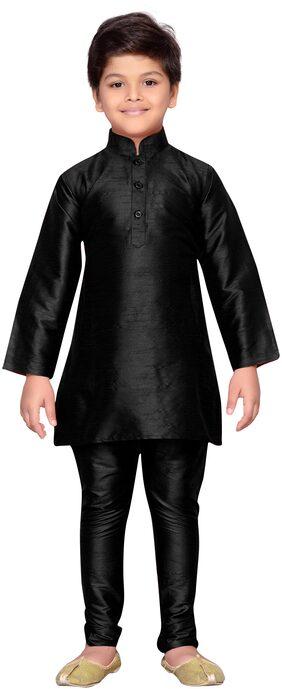 Kidling Boy Raw Silk Solid Kurta Pyjama Set - Black