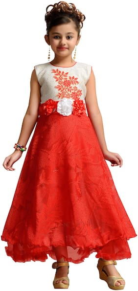Kidling Girl's Net Floral Sleeveless Gown - Red