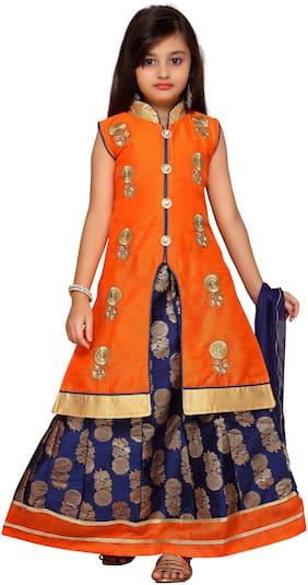 Kidling Girl's Brocade Embellished Sleeveless Lehenga choli - Orange