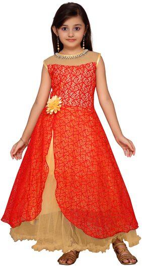 Kidling Girl Net Solid Frock - Red