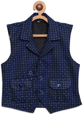 Kidling Boy Satin Checked Ethnic jacket - Blue & Black