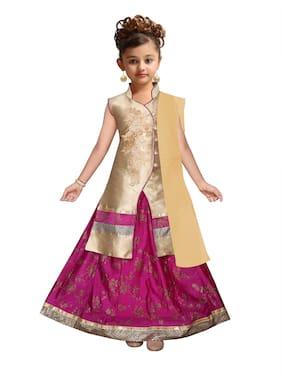 Kidling Girl's Satin Floral Sleeveless Lehenga choli - Gold