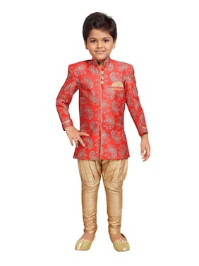Kidling Boy Cotton blend Printed Sherwani - Red