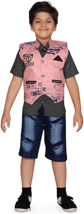 Kidling Kids Party Wear Shirt and Shorts Set for Boys