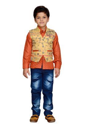 Kidling Boy Cotton Blend Top & Bottom Set - Orange