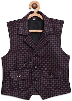Kidling Boy Satin Checked Ethnic jacket - Purple & Black