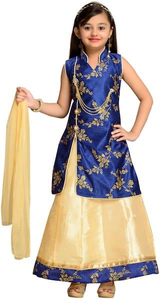 Kidling Girl's Satin Floral Sleeveless Lehenga choli - Blue