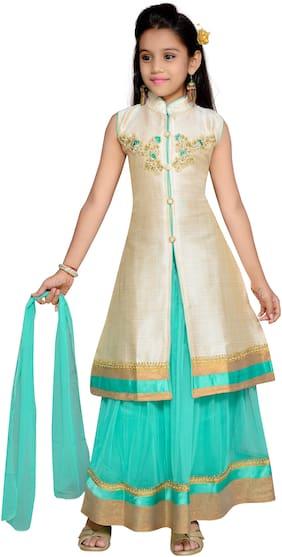 Kidling Girl's Raw silk Embellished Sleeveless Lehenga choli - Green