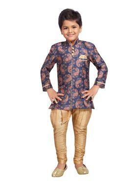 Kidling Boy Cotton Blend Printed Sherwani - Blue
