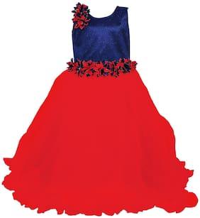Kidling Girl's Net Solid Sleeveless Gown - Red