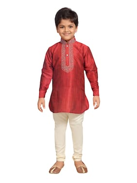 Kidling Boy Cotton Blend Solid Kurta Pyjama Set - Maroon