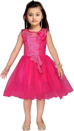 Kidling Baby girl Net Embellished Princess frock - Red
