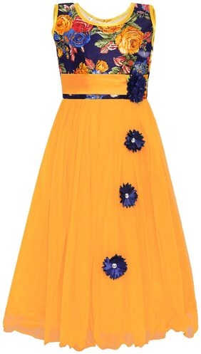 Kidling Girl Net Floral Frock - Yellow