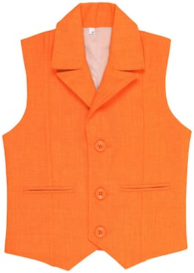 Kidling Boy Jute silk Solid Ethnic jacket - Orange