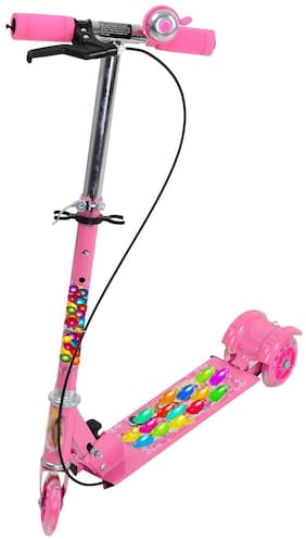 Kids 3 Wheel Foldable Scooter with Height Adjustment & Led Light on Wheel(Break and Bell)-Pink