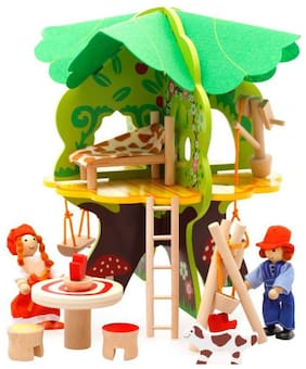 Kids Amazing DIY Wooden 3D Puzzle Tree Doll House Toys with Furniture and Miniature Dolls
