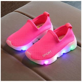 1bec18241 Kids Boys Girls Sports Trainers LED Light Up Luminous Sneakers Shoes 26 EU  (Peach)