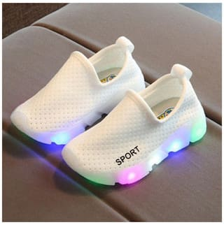 f7a9dad47 Kids Boys Girls Sports Trainers LED Light Up Luminous Sneakers Shoes 25 EU ( White)