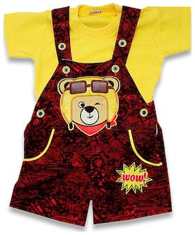 KID'S CARE Unisex Cotton Printed Romper - Red & Yellow