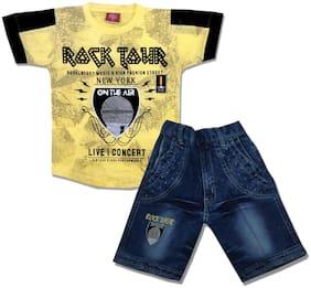 KID'S CARE Cotton Printed Top & Bottom Set - Yellow