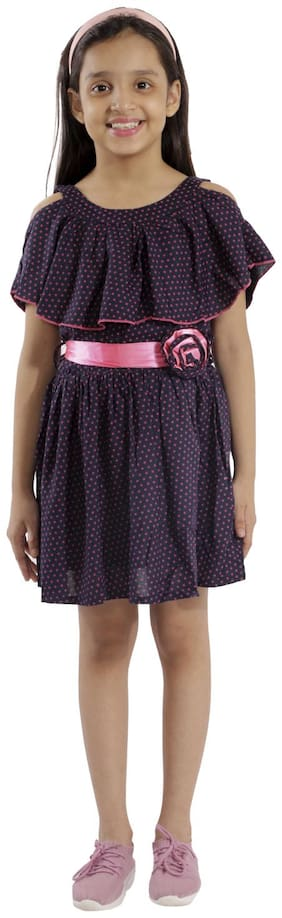 Kids Cave cut-out dress for girls fit and flare belted with flower fabric rayon star print (Color_Blue, Size_3 Years to 12 Years)