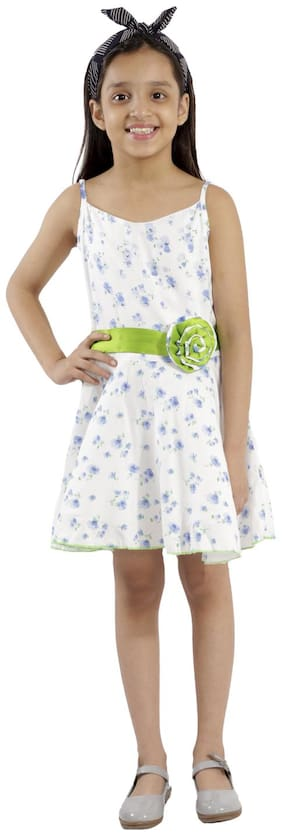 Kids Cave dress for girls fit and flare belted with flower fabric rayon floral print (Color_White, Size_3 Years to 12 Years)