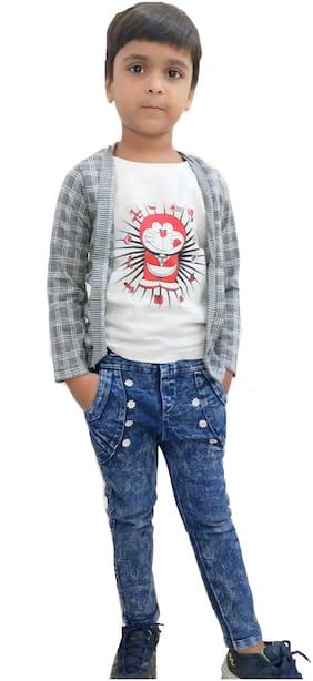 RRC Boy Cotton Checked T-shirt - Multi